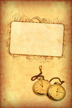 Vintage watch with scratches on grungy background Stock Photo - 3817388