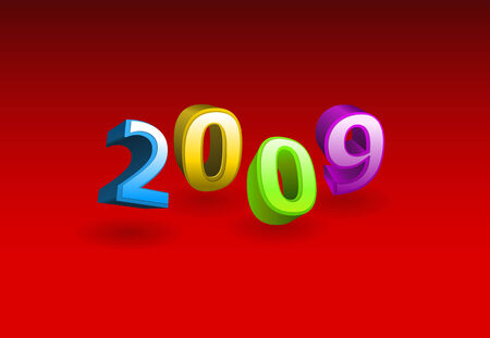 Vector 3d illustration - 2009 year on red background  Vector
