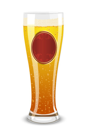oval  alcohol: Vector illustration of a beer glass with label over white background