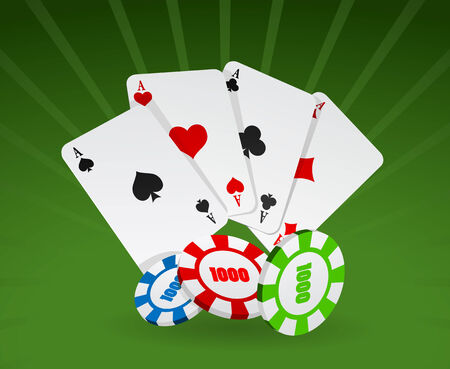 Vector illustration of cards and chips on green background Vector