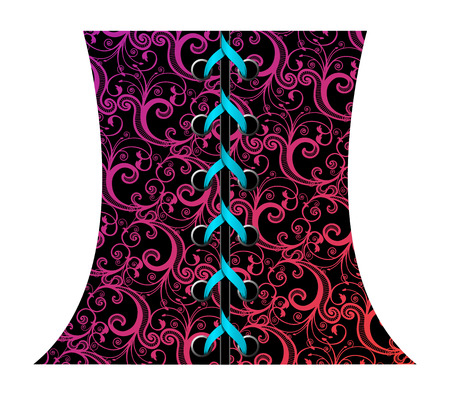 laced: Vector illustration of abstract floral corset