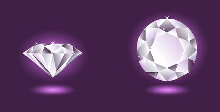 gemstones: Vector diamant, twee hoeken van mening over paarse achtergrond