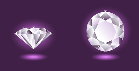 scintillation: Vector diamond, two angles of view, over purple background