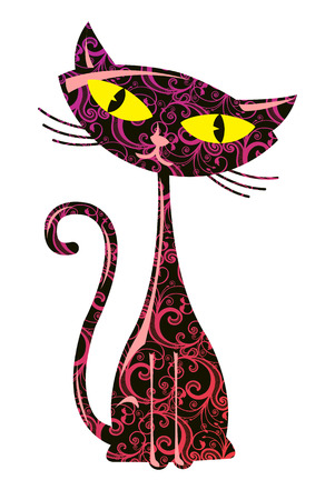 Vector illustration of floral cute cat  Vector