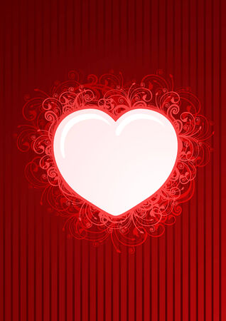 Vector illustration of floral heart frame  Vector