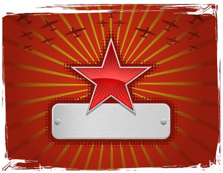 Vector illustration of red grungy star frame Иллюстрация
