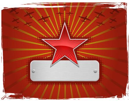 jets: Vector illustration of red grungy star frame Illustration