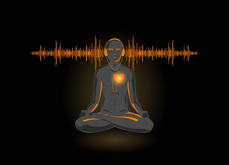 Vector illustration of yoga listening his heart, isolated on black background  Иллюстрация