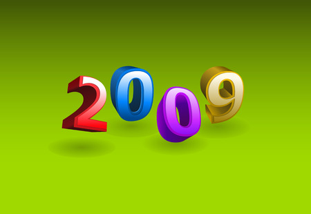 Vector 3d illustration - 2009 year on green background Vector