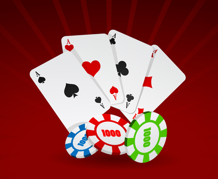 Vector illustration of cards and chips on red background  Vector