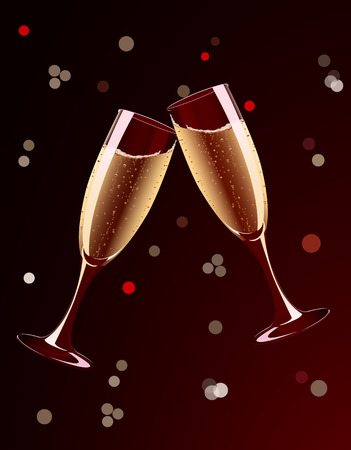 Vector illustration of champagne glasses splashing on holiday background Иллюстрация