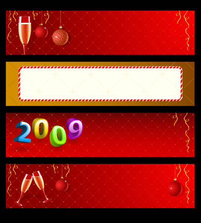 Set of vector New Year banners  Vector