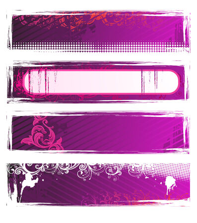 Set of vector pink grunge floral banners  Vector