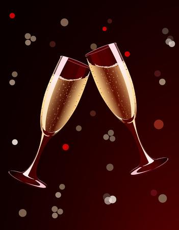 Vector illustration of champagne glasses splashing on holiday background Stock Vector - 3913487