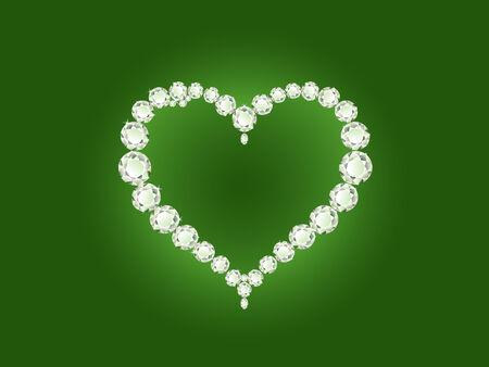 Vector shiny diamond heart on green background  Vector