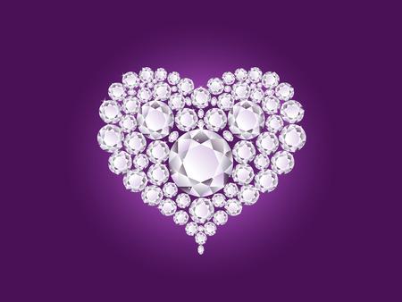 Vector shiny diamond heart on purple background Vector