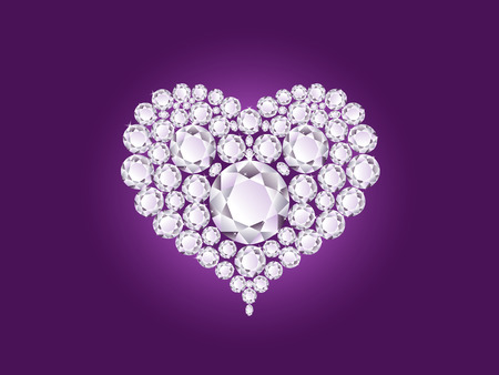Vector shiny diamond heart on purple background
