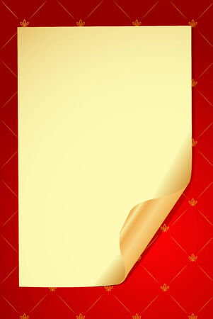 Vector old paper on red glamour background  Vector