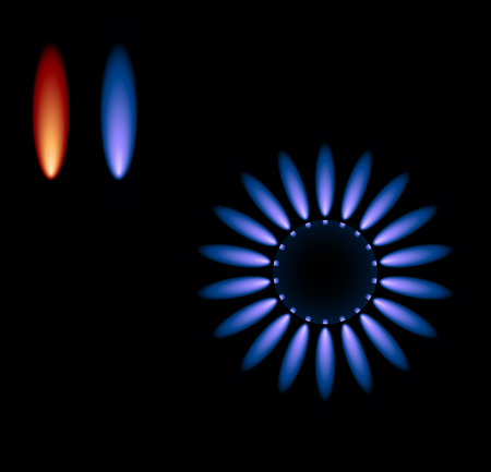gas flame: Fornello a gas Vector con le fiamme blu