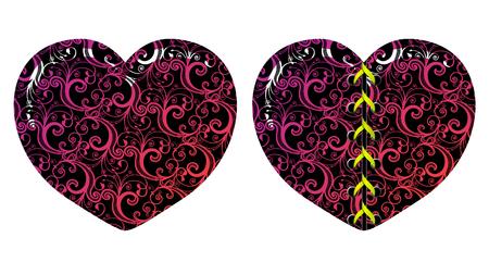 Vector floral decorative hearts  Vector