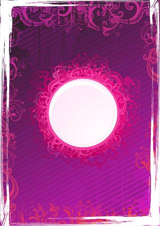 Vector circle floral pink frame Vector