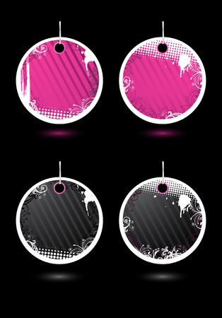 Set of vector round grunge labels Stock Vector - 3913498