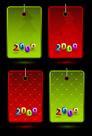 Set of vector New Year colorful labels  Vector