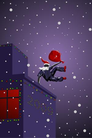 Vector parkour Santa Claus with bag Stock Vector - 3913493