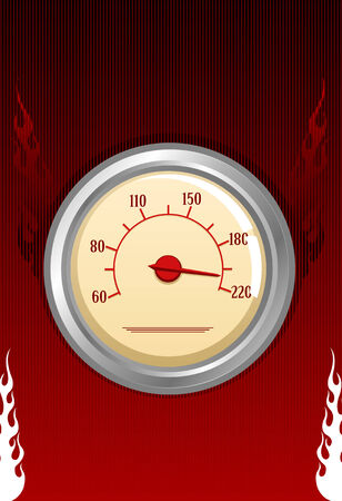 Vector speedometer with fires on red background  Vector