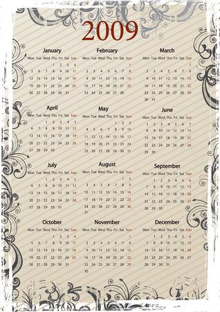 mondays: European Vector beige floral grungy calendar, starting from Mondays