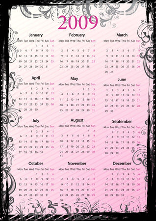 European Vector pink floral grungy calendar, starting from Mondays Vector