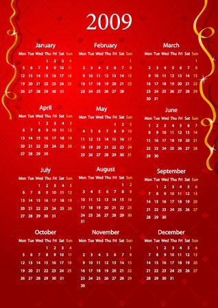 mondays: Vector European red calendar, starting from Mondays  Illustration