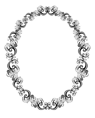 circular silhouette: Vector illustration of black floral frame over white background