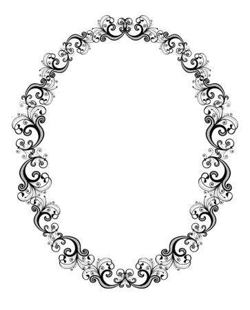 black and white frame: Vector illustration of black floral frame over white background