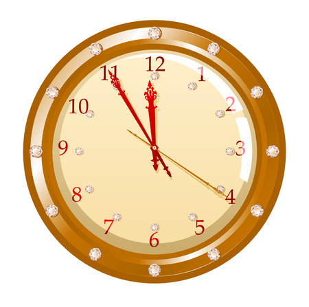 Vector illustration of holiday clock with diamonds Vector