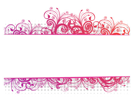 Vector illustration of a floral pink border