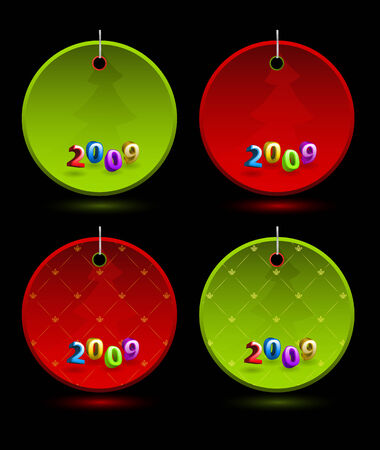 Set of vector New Year colorful round labels  Vector