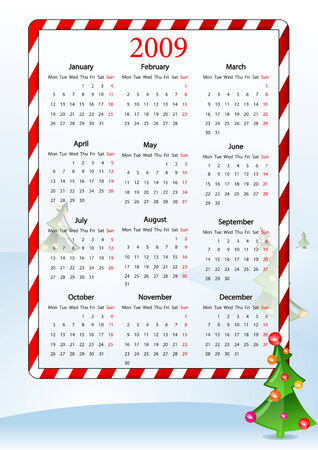 Vector illustration of European calendar with Christmas tree, starting from Mondays Vector