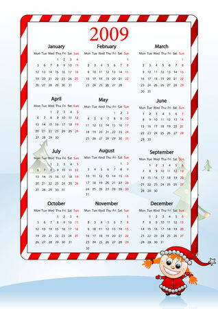 helpers: Vector illustration of European calendar with Santa Claus helper, starting with Mondays