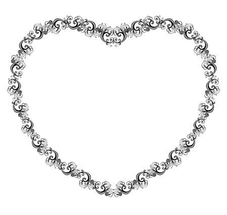 Vector illustration of a heart shaped border  Vector