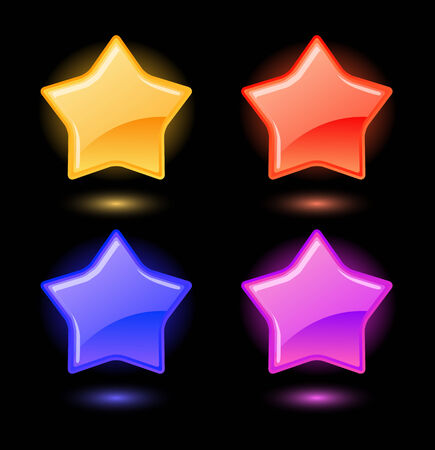 Set of vector colored glossy stars  Vector