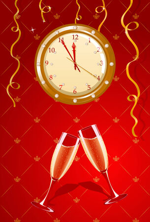 Vector illustration of holiday clock and champagne glasses