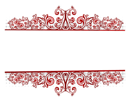ornaments vector: Vector illustration of a floral red border