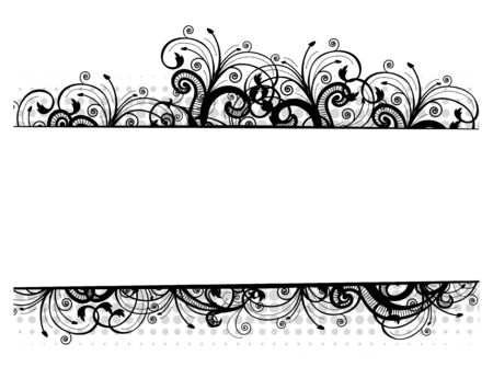 Vector illustration of a black floral border