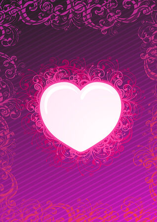Vector illustration of floral heart over purple background Stock Vector - 4017386