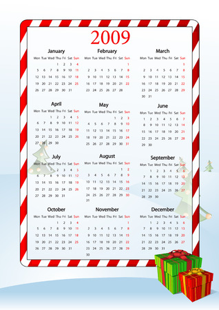 mondays: Vector illustration of European calendar with gift boxes, starting from Mondays
