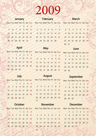 European Vector pink floral calendar, starting from Mondays Stock Vector - 4017384