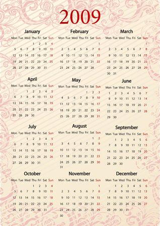 mondays: European Vector pink floral calendar, starting from Mondays