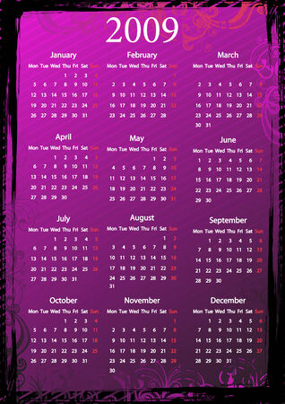 Vector European floral pink and black grungy calendar, starting from Mondays Vector