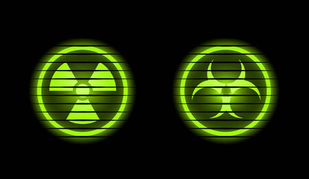 Two vector industrial icons over black background  Vector